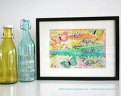 "Mixed Media 8,5 x 11 Art Print of original canvas ""It's time to create my life"", lovely home decor"