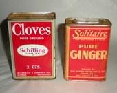 Vintage Spice Tins - Ginger and Cloves