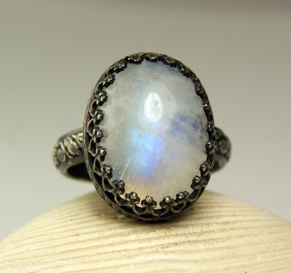 Moonstone Ring, Sterling Silver, Natural White Stone, Rainbow flash, Handmade Jewelry-made to order in your size