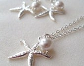 Bridal Jewelry set, Silver Starfish and Swarovski Pearl Necklace and Earrings set, Bridesmaids jewelry set gift, Wedding