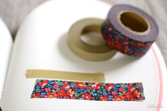 Pretty Floral Japanese Washi Masking Tape 2 Roll Set // Red // Coffret au Couturier