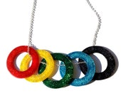 Olympic Rings Necklace - London 2012 Olympics - Five Colourful Glittery Rings, Worn Together or Separately - Red, Yellow, Green, Blue, Black