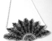Victorian Fan Necklace - Ornate Feather Fan Design - Large Supersize Statement Jewellery