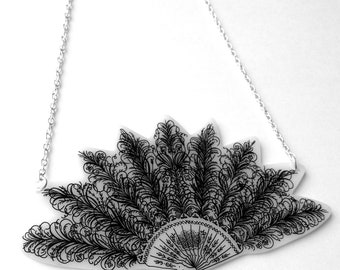 Victorian Fan Necklace - Ornate Feather Fan Design - Large Supersize Statement Jewellery
