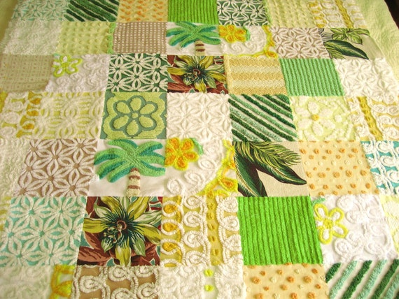 SALE READY to SHIP  Palms and Passion Flowers Vintage Chenille and Bark Cloth Quilt or Throw