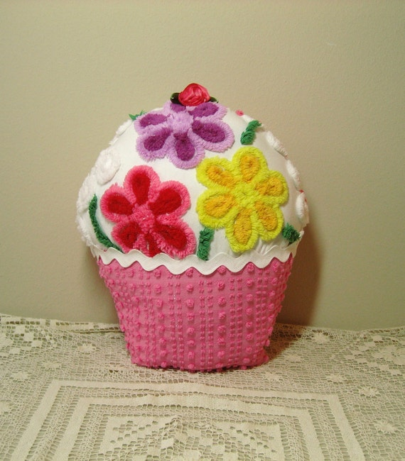 Vintage Chenille Cupcake Pillow  Pink, Red, Purple and Yellow Plush Flowers