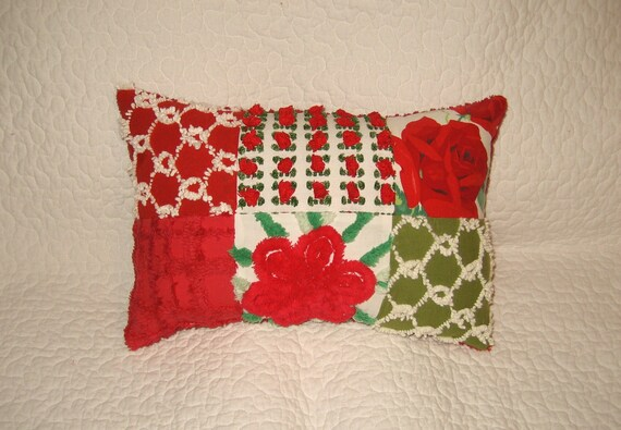 SALE CHRISTMAS  Vintage Chenille and Wilendur Quilted Christmas Pillow Red Rosebuds
