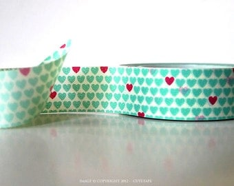 Heart washi tape red Aqua Mint Washi Tape Mint Wedding Decor