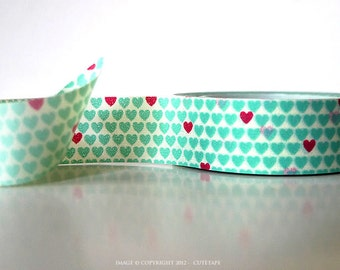 Hearts washi tape heart red Aqua Mint Washi Tape Mint Wedding Decor Decorative Tape Scrapbooking