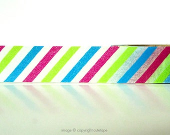 MultiColor Stripe Washi Tape (Chugoku) -  gift packaging or card making