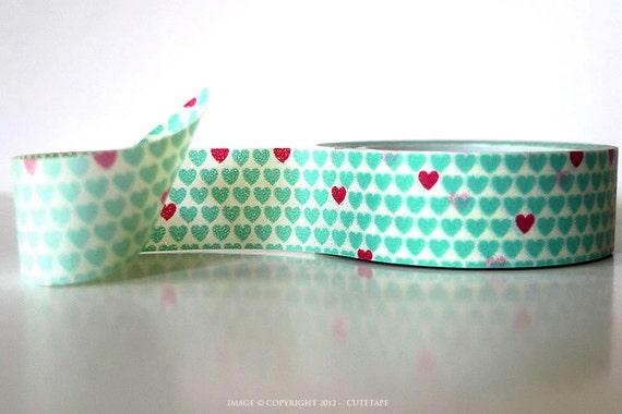 Aqua Mint Red Heart Washi Tape Mint Washi Tape Mint Wedding Decor