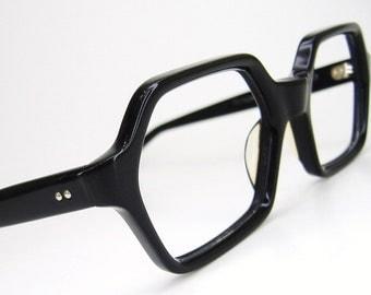 Vintage Black Oversized Cateye Eyeglasses Eyewear Frame Austria NOS