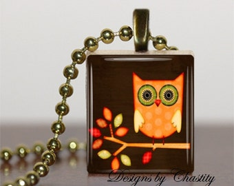 Owl on a Branch Autumn Leaves Scrabble Charm Pendant Necklace