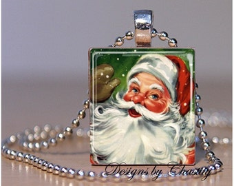 Santa Claus Christmas Scrabble Charm Necklace