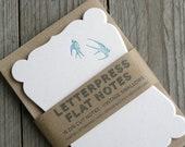 Vintage Swallows -  Letterpress Die Cut Note Cards