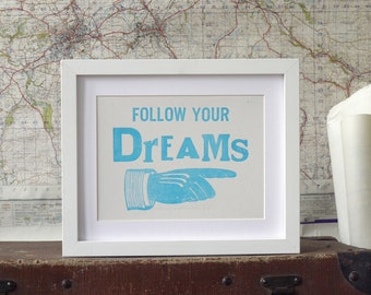 Follow Your Dreams Letterpress Graduation Card