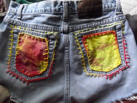 Clearance Vintage High waisted blue jean distressed fray hippie tie dye rasta hand dyed reggae hand sewn shorts sz women's 12