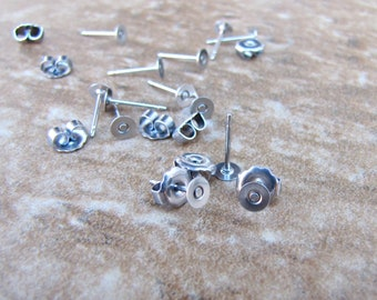 100 pcs 4mm Surgical Stainless Steel Flat Pad Earring Posts and Backs 50 pairs jewelry finding supplies