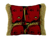 STUDIO CLEARANCE SALE ***  ooak Golden Lips screen print 12x12 decorative throw pillow