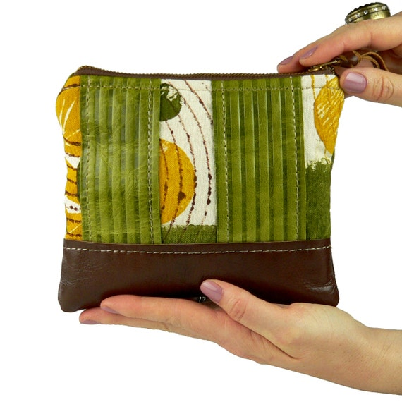 50% OFF & FREE SHIPPING -Lemons and Limes leather and silkscreen small zipper pouch