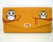 Hand Painted Mustard Yellow Owl Clutch,   faux leather  owl handbag , fall fashion, unique  christmas gift under 100