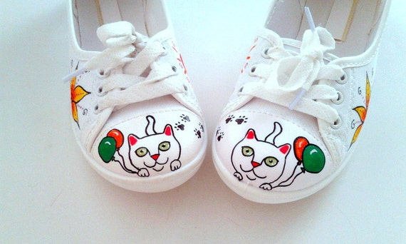 Hand Painted Pumps / Sneakers - Kitty Loves balloons Whimsical design - UK 4/ US 6.5 /EU 37