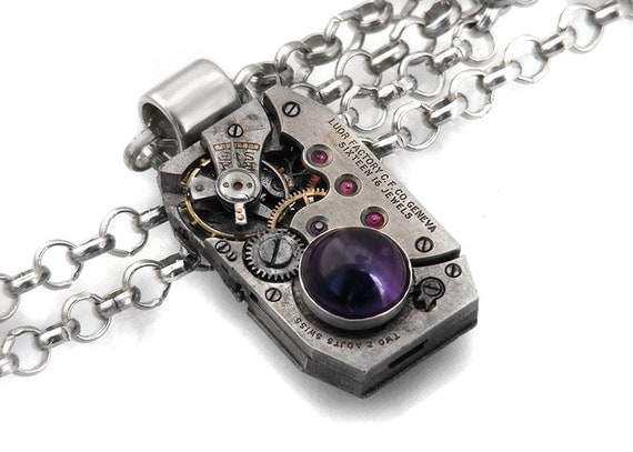 Steampunk Necklace, African Amethyst & Vintage Watch Movement - Long Chain Necklace