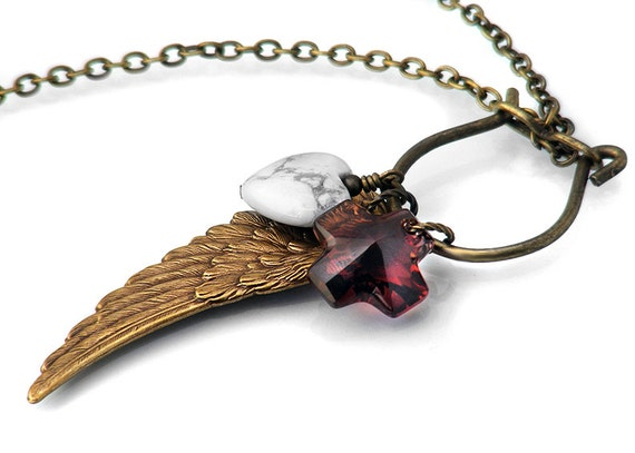 Steampunk Wing Necklace, Angel Wing Memory Keeper Charm Holder / Keepsake Necklace - Long Chain Necklace