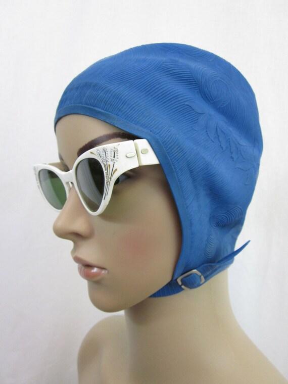 1950s Blue Swim Cap