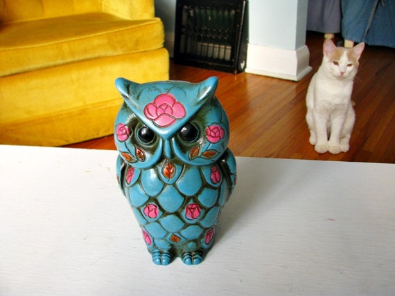 vintage Turquoise Owl Bank with hot pink roses and scale details
