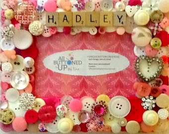 RESERVED ~ CUSTOM ONLY  Baby Button Frame in Pink and White ~ Baby Shower Gift ~ Nursery Decor ~ Personalized Gift ~ Baby Girl ~ 4x6 Photo