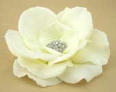 Wedding Hair Flower Real Touch Rose Clip Bridal Hairpiece Pin Accessories White Ivory