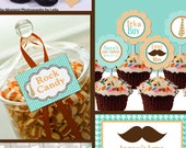 Little Man Mustache Tie Banner Candy Label Baby Shower Printable - Stick to Your Story