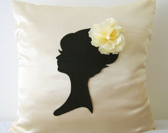 Elegant Cameo Champagne And Black Pillow Cover. Cream Decorative Cushion. Wedding Gift. Girls Room Decor