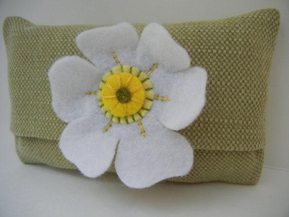 Pocket Tissue Case - Tissue Pack Cover - White Felt Flower -Tissues Included