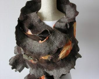 NUNO scarf- felted- ruffles- roses- orange- grey- brown