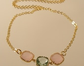 Pink Ice and Prasiolite Square Glass Gold Necklace, Bridesmaid Necklace, Wedding Necklace (3712)