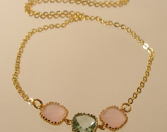 Pink Ice and Prasiolite Square Glass Gold Necklace, Bridesmaid Necklace, Wedding Necklace (3138W)