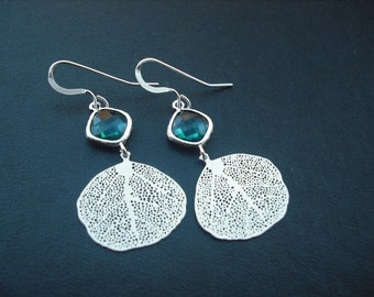 Bridesmaids gift, Wedding Gift, blue zircon bezel and filigree leaf  earrings - Sterling silver ear wires