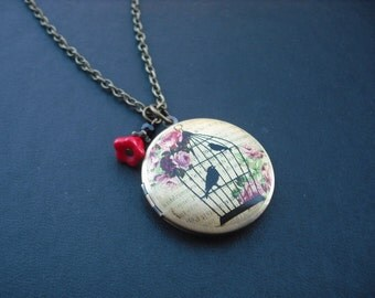 SALE - Bird on a cage altered photo locket necklace - only one avaialble