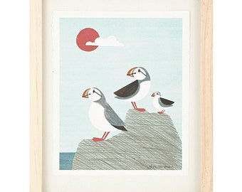 Puffin Family Light Blue and Sun Illustration Archival Art Print for Any Wall, Nursery, Children's Bedroom: Boy or Girl