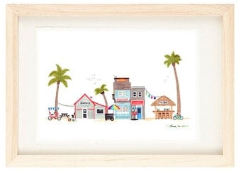 BEACH TOWN - Poster Size Seaside Village, Illustration Giclee Print, Surf, Sun, Sand