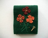 Dark Green Needle Keeper Felt Needle Book with Hand Embroidered Felt Flowers and Brass Sciccors Charm