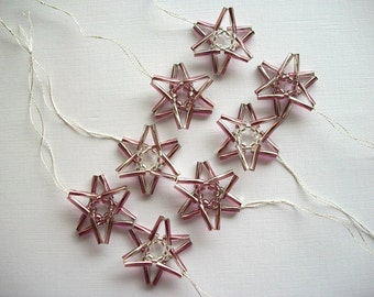 Stars Ornaments Beaded Amethyst Bugle Beads 8 Pieces
