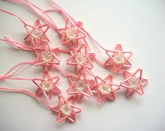 Star Ornaments Pink Beaded Tree or Wall Hangings Hangings 10 pcs