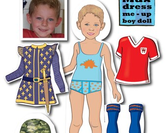 Boy's Personalized MAGNETIC Paper Doll - printable - DIGITAL FILES