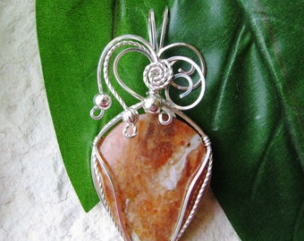 Orange Calcite Silver Wire Wrapped Pendant - Orange Calcite Pendant - Calcite Jewelry - Wire Wrapped Calcite - Pendant