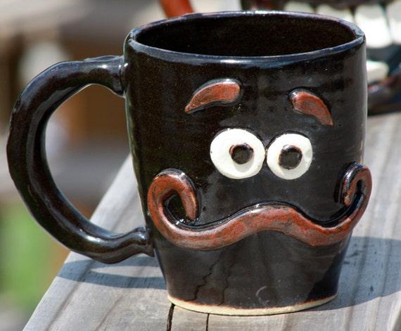 Mustache Mug, Coffee Mug, Red Head