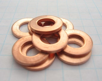 COPPER Metal Blanks for Hand STAMPING Open Circle WASHERS 15 mm Disc 15 gauge 1.45mm thick Hand Stamped Jewelry Making Supplies Qty 10