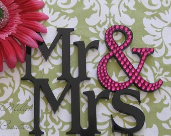 Partial Crystal MR AND MRS Cake Topper for Wedding with Swarovski Crystals